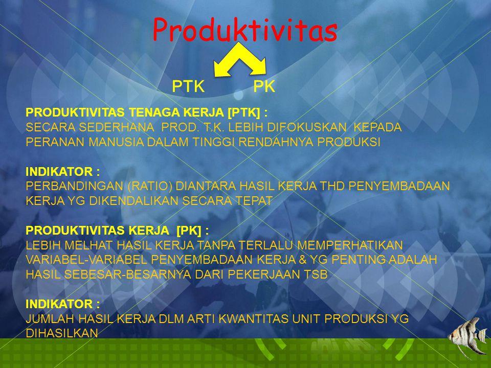 Produktivitas PTK PK PRODUKTIVITAS TENAGA KERJA [PTK] :